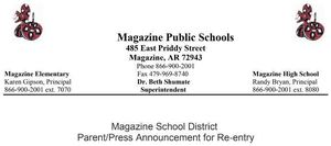 Magazine School District Parent/Press Announcement for Re-entry