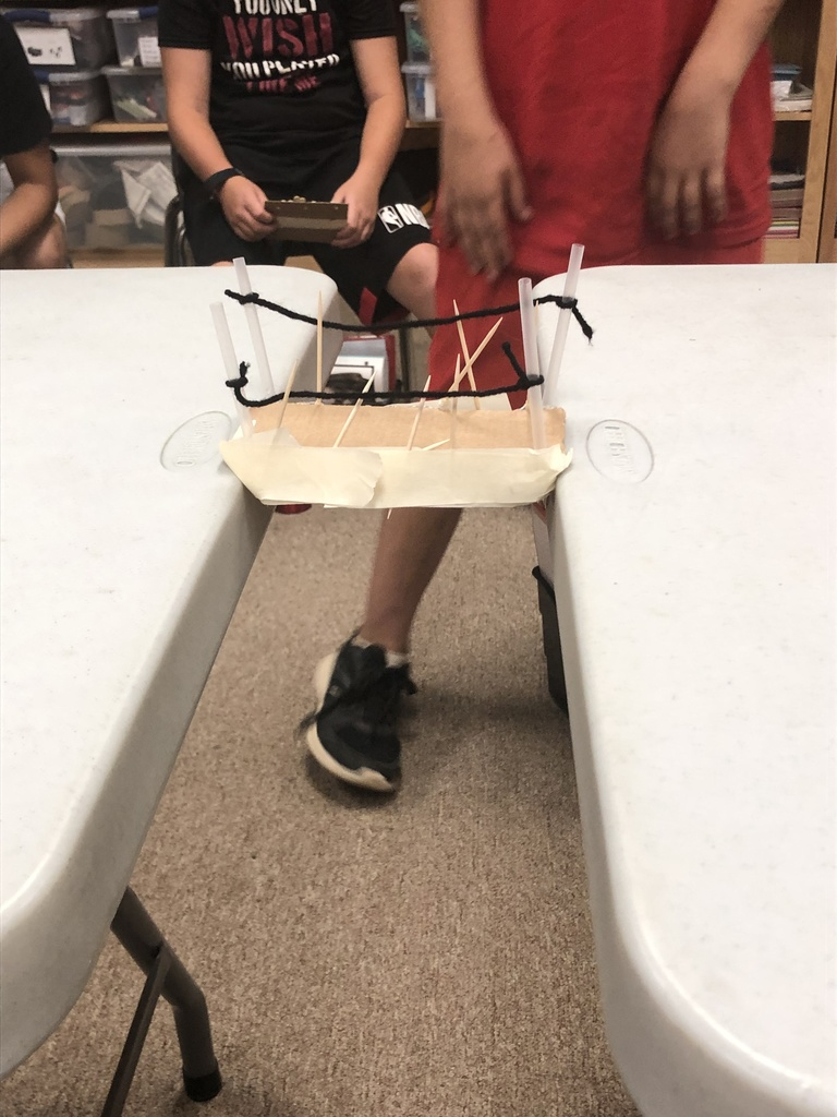 5th and 6th graders building bridges in Ms. Duke's Science class!