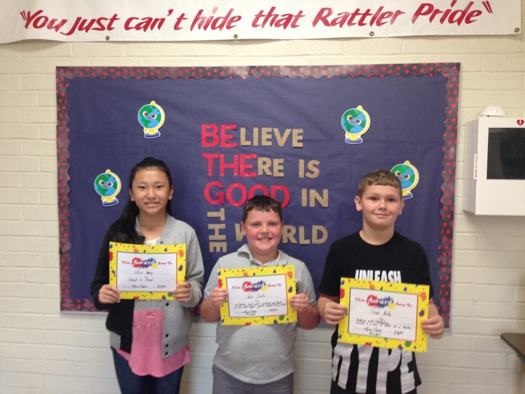 More September Bucket Fillers! We all carry an invisible bucket in which we keep our feelings about ourselves. When our buckets are full, we are happy; when they are empty, we are sad. It is important that students learn that when they fill a friend's bucket, they also fill their own bucket because it feels good to make others happy.  Lillian Yang, Jace Smith, Trevan Newby, Eli Treadwell, Ainslee Chappell, Cody Thomas, Evangeline Lemmond, Olivia Mattson, Arlevia Adair, Jarron Jones, Daniel Green