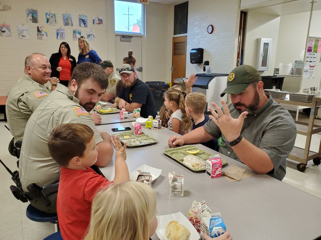 "2nd grade's community service project, ""Thank a Police Officer Breakfast"" was awesome! All of the kids enjoyed getting to eat and visit with the officers. Thank you for all of the hard work you do to keep us safe."