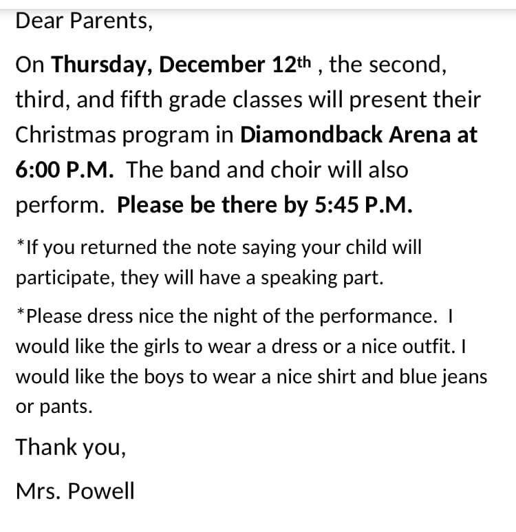 Message from Mrs. Powell.